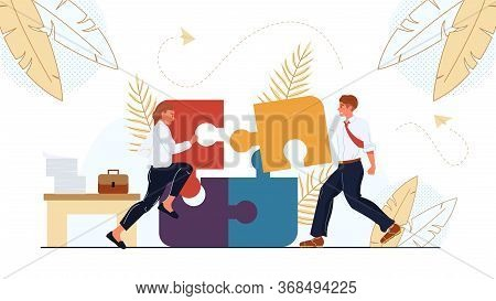 Business Colleagues Businesspeople Team Put Business Missing Jigsaw Puzzle Piece. Solution Generatio