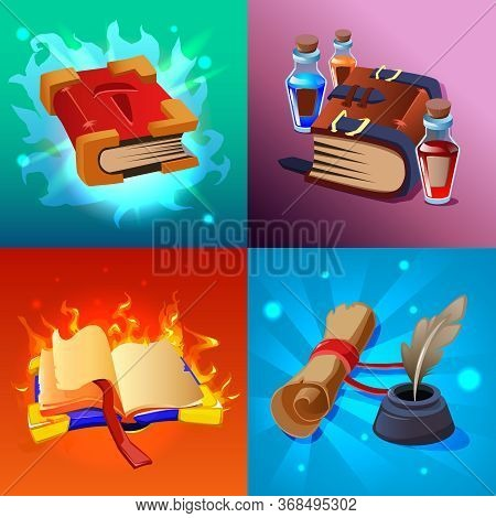 Magic Book Cartoon Concept Icons Set With Scrolls And Potions Isolated  Vector Illustration