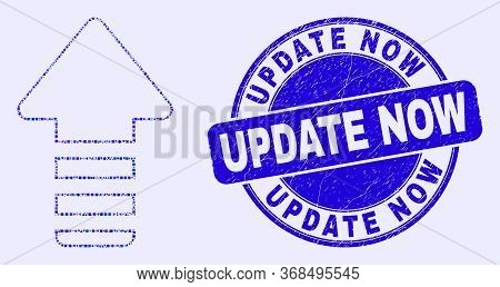 Geometric Update Arrow Mosaic Icon And Update Now Seal Stamp. Blue Vector Round Grunge Seal Stamp Wi