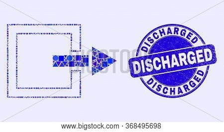 Geometric Log Out Mosaic Pictogram And Discharged Seal Stamp. Blue Vector Round Grunge Seal Stamp Wi