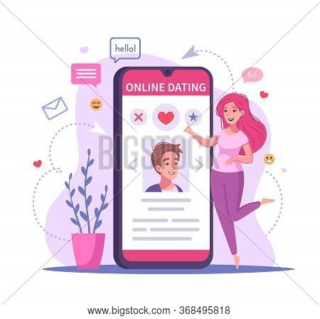 Virtual Relationships Online Dating Cartoon Composition With Image Of Smartphone With Dating App And