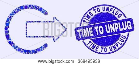 Geometric Logout Mosaic Pictogram And Time To Unplug Seal Stamp. Blue Vector Round Scratched Seal St