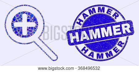 Geometric Zoom In Mosaic Pictogram And Hammer Seal Stamp. Blue Vector Round Textured Stamp With Hamm