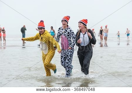 Scheveningen Annual New Year's Dive And Swim. Typical Dutch Tradition