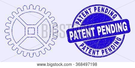 Geometric Clock Gear Mosaic Icon And Patent Pending Seal Stamp. Blue Vector Rounded Distress Seal St
