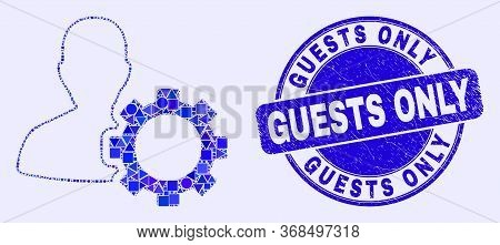 Geometric User Options Gear Mosaic Icon And Guests Only Seal Stamp. Blue Vector Rounded Scratched St