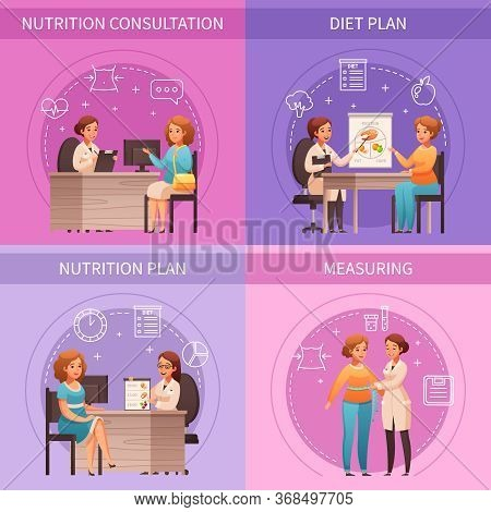 Nutritionist Consultation 4 Cartoon Compositions With Body Measuring Healthy Lifestyle Eating Diet P