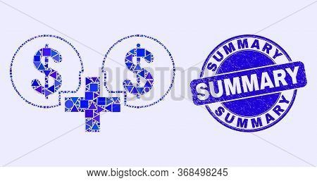 Geometric Financial Sum Mosaic Pictogram And Summary Seal Stamp. Blue Vector Rounded Distress Seal W