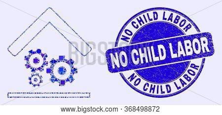 Geometric Engine Service Garage Mosaic Pictogram And No Child Labor Stamp. Blue Vector Round Texture