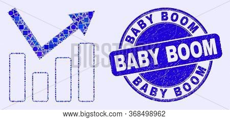 Geometric Trend Chart Mosaic Icon And Baby Boom Seal Stamp. Blue Vector Rounded Textured Seal Stamp