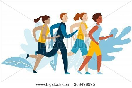 Running People Of Different Nationalities. A Group Of Runners In Motion. Running Men And Women Sport