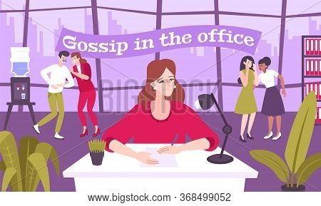 Work Gossip Flat Composition With Office Scenery And Cartoon Characters Of Coworkers Talking With Ea