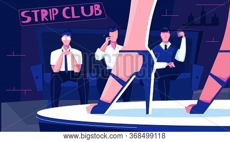 Night Club Striptease Indoor Composition With Human Characters Of Sitting Men And Dancefloor With Hi
