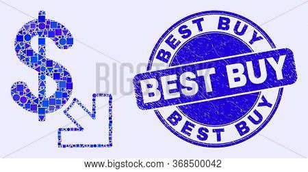 Geometric Export Dollar Mosaic Icon And Best Buy Seal Stamp. Blue Vector Round Distress Seal Stamp W