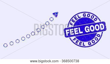 Geometric Dotted Up Trend Arrow Mosaic Pictogram And Feel Good Seal Stamp. Blue Vector Round Texture