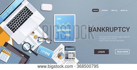 Downward Chart Economic Arrow Falling Down Financial Crisis Bankruptcy Concept Digital Devices On Wo