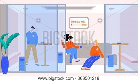 Smoking Area Flat Composition With Indoor View Of Enclosed Area For Smoking With People And Furnitur