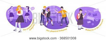 Bullying Flat Set Of Three Round Compositions With Text And Cartoon Style Characters Of Bullied Chil