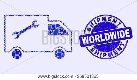 Geometric Service Van Mosaic Icon And Shipment Worldwide Seal. Blue Vector Round Textured Seal Stamp