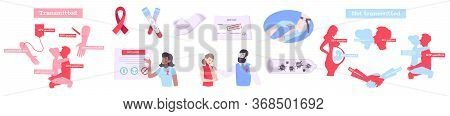 Hiv Aids Set Of Flat Isolated Icons With Ribbons Medical Products Test Tubes And Human Silhouettes V