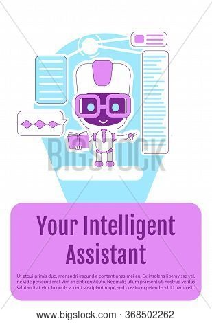 Personal Assistant Bot Poster Flat Silhouette Vector Template. Brochure, Booklet One Page Concept De