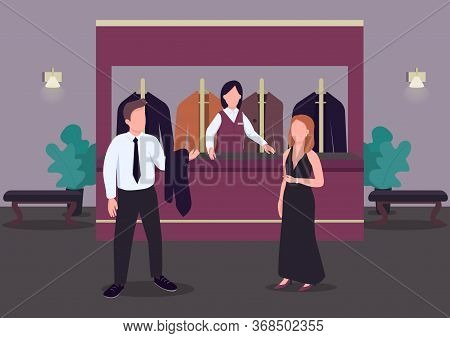 Cloakroom Flat Color Vector Illustration. Man In Formal Suit. Woman In Elegant Dress. Casino Hall. E