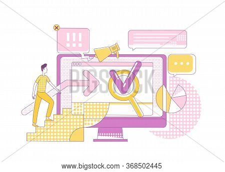 Search Engine Marketing Thin Line Concept Vector Illustration. Potential Customer 2d Cartoon Charact