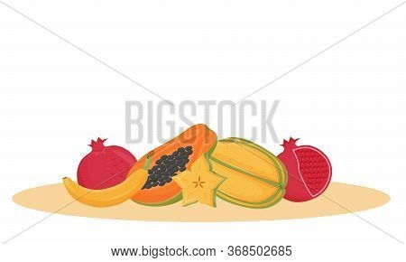 Exotic Fruits Cartoon Vector Illustration. Traditional Indian Dessert, Organic Food Flat Color Objec
