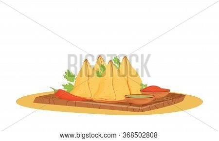 Samosas Cartoon Vector Illustration. Served Indian Dish, Fried And Baked Pastry With Savory Fillings