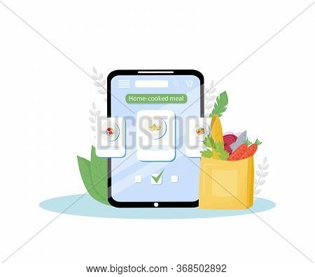 Home-cooked Meals Online Order Mobile Application Flat Concept Vector Illustration. Certified Home-k