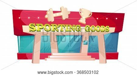 Sporting Goods Cartoon Vector Illustration. Fitness Gear Shop Front. Gym Exterior Flat Color Object.