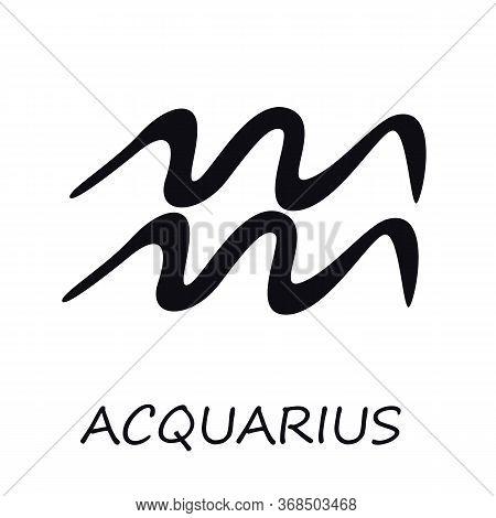 Aquarius Zodiac Sign Black Vector Illustration. Celestial Silhouette Air Symbol. Astrological Conste