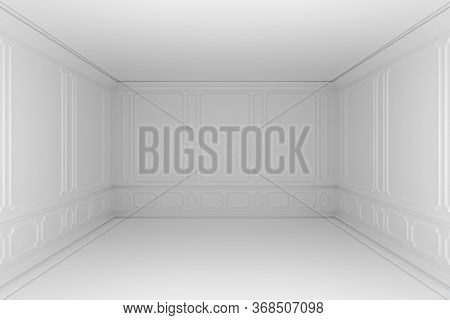 Simple Empty White Room With White Decorative Molding On Wall In Classic Style, With Baseboard, Flat
