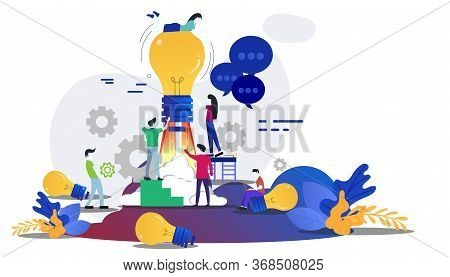 Businessman And Lady  Group Brainstorm Working For Startup Success With Lamp Creativity Modern Idea