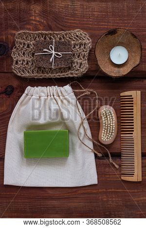 Spa Wellness Concept, Natural Coffee Scrub, Green Conifer Soap, Eco Bag, Candle In Coconut Shell, Pe