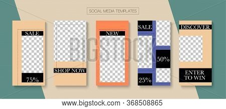 Social Stories Cool Vector Layout. Modern Sale, New Arrivals Story Layout. Blogger Hipster Frame, So