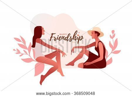 Gossip Vector Illustration. One Excited Girl Whispers Secret To Girlfriend.