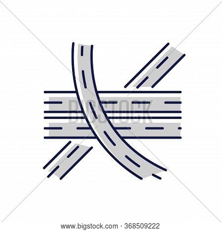 Multi Level Junction Chalk White Icon On Black Background. Highway System. Multiple Tarmac Roads. Dr