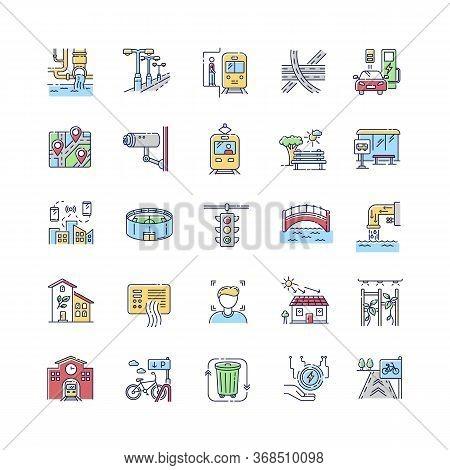 Urban Infrastructure Rgb Color Icons Set. Public Service. Traffic Regulation Light. Passenger Transp