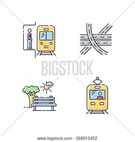 City Transportation Rgb Color Icons Set. Subway Station. Highway Multi Level Junction. Public Train.