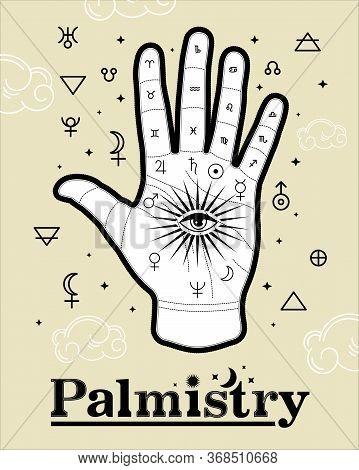 Palmistry Life Lines Vector Vintage Illustration, Magic Alchemy Spirituality Zodiac Symbol.