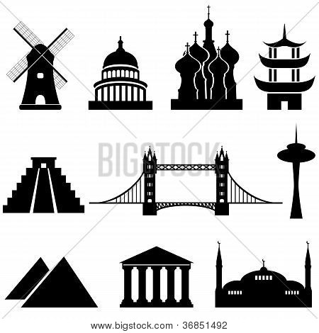 World's famous landmarks and monuments in black poster