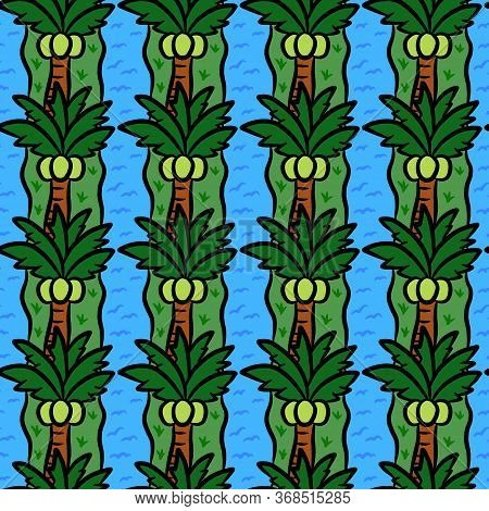 Art Seamless Pattern Background Of Coconut Tree
