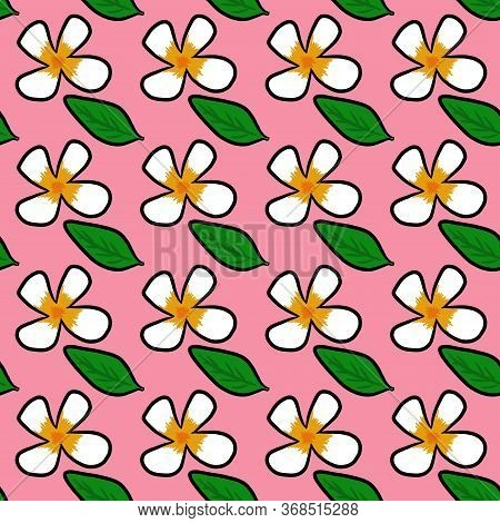 Art Seamless Pattern Background Of Plumeria Flower On Pink Color
