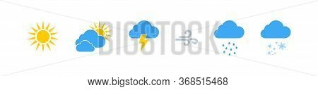 Weather Vector Icons Collection. Weathers Icons. Weather Forecast Sign Symbols. Weathers Signs In Fl