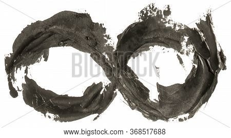 Black Oil Painting Hand Drawn Infinity Symbol Loop Isolated On White Background. Eps10 Vector Illust
