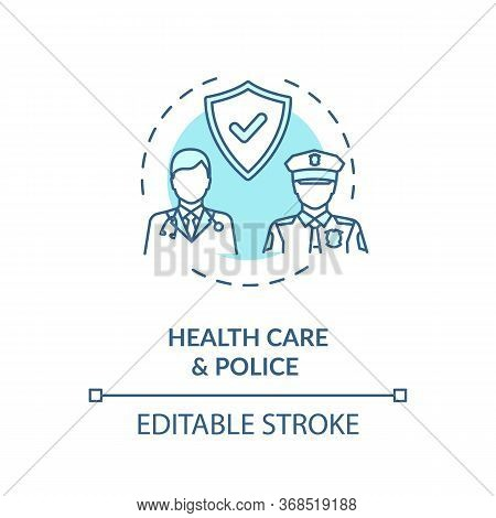 Healthcare And Police Turquoise Concept Icon. Public Service. Law Enforcement. People Medical Help A