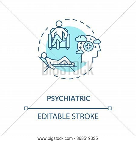 Psychiatric Help Concept Icon. Depression And Anxiety Treatment. Psychotherapy Idea Thin Line Illust