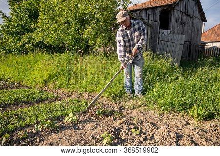 Poor Farmer Hoeing Vegetable Garden