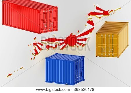 3d Map Of Japan. Freight Shipping In Containers. Export From The Country In Containers. 3d Rendering